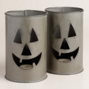 Metal Jack-O-Lantern Candleholders, Set of 2