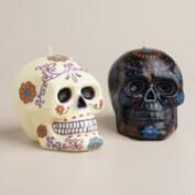 Black and Ivory Los Muertos Skull Candles, Set of 2