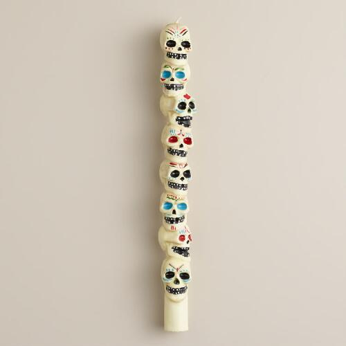 Los Muertos Stacked Skull Taper Candle