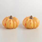 Small Pumpkin Candles, Set of 2