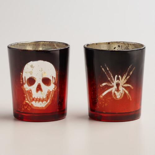 Spider & Skull Mercury Glass Votive Candleholders, Set of 2
