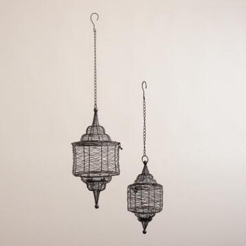 Black Spun Wire Hanging Lantern