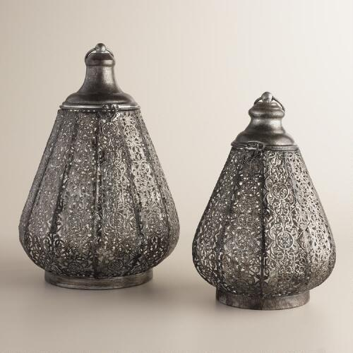 Silver and Black Mia Filigree Lantern