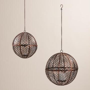 Bronze Metal Hexagon Jali Hanging Ball Lantern
