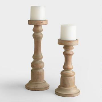 Gray Wood Ella Pillar Candleholder