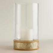 Glass Hurricane Candleholder with Metal Inlay