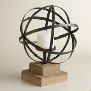 Antique Bronze Metal Orb Candleholder