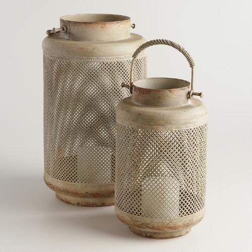 Distressed Metal Filigree Ellie Lantern