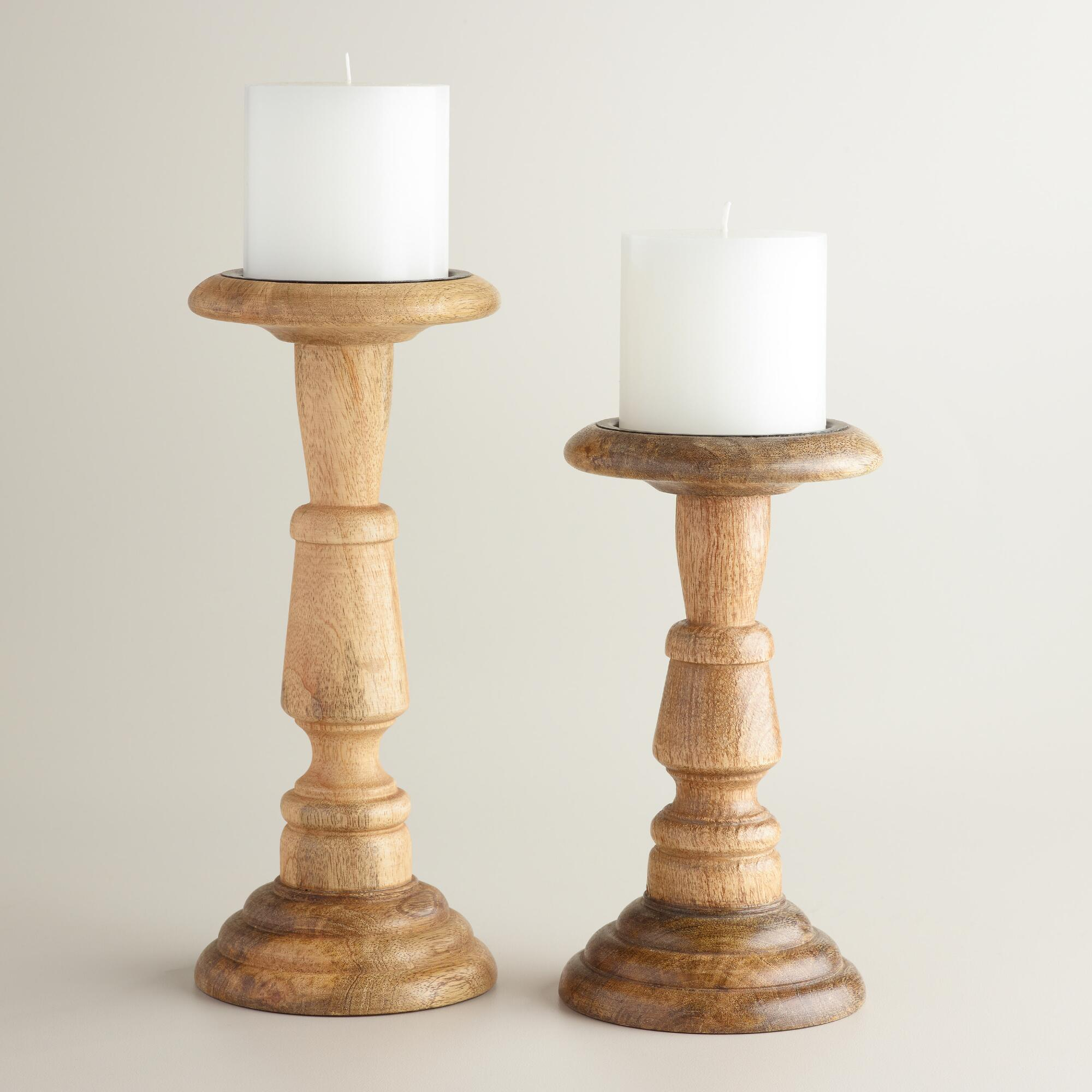 Natural wood connor pillar candleholder world market Wood candle holders