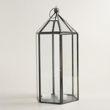 Large Antique Zinc Metal Riley Hexagon Lantern