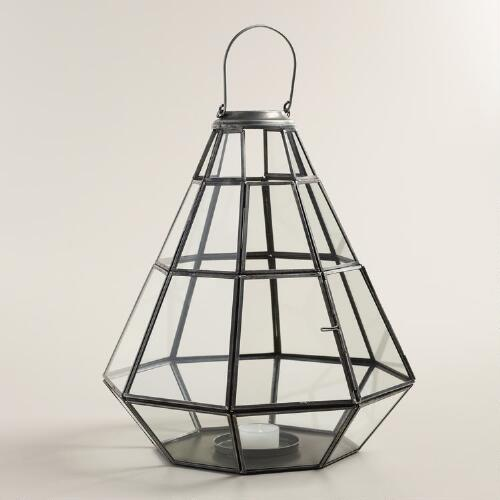 Antique Zinc Metal Riley Geometric Tabletop Lantern
