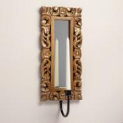 Espresso and Gold Carved Wood Olivia Sconce