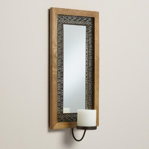 Wood and Metal Avery Mirror Sconce