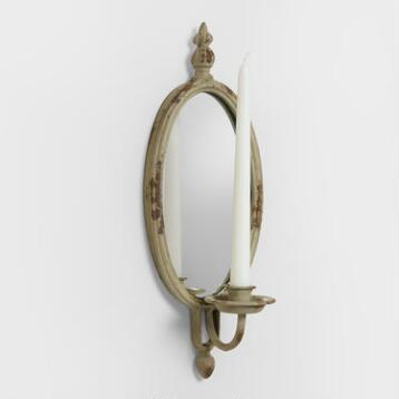 Distressed Gray Aria Oval Mirror Sconce