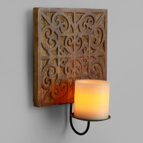 Natural Carved Wood Medallion Sconce