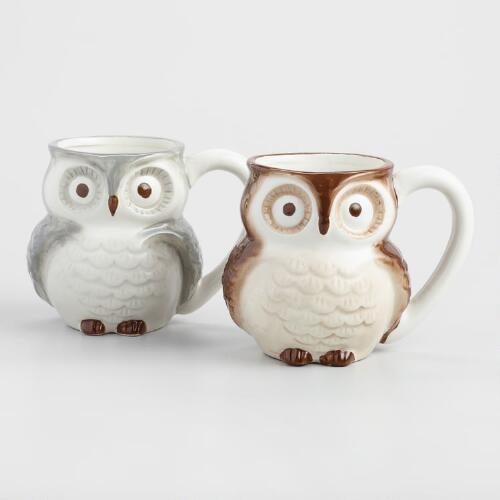 Surprise Owl Mugs, Set of 2
