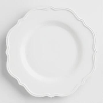White Baroque Salad Plates, Set of 4