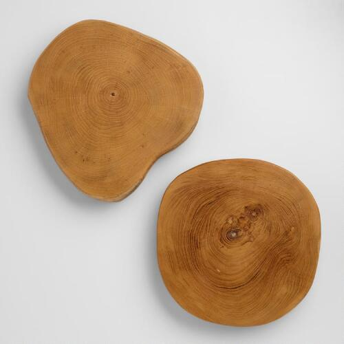 Footed Wood Serving Platters, Set of 2