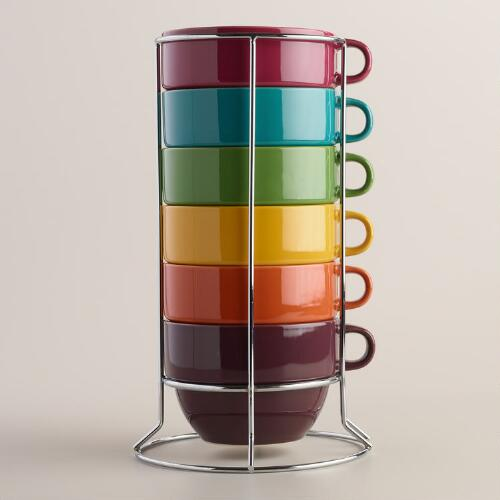 Jumbo Fall Stacking Mugs, Set of 6