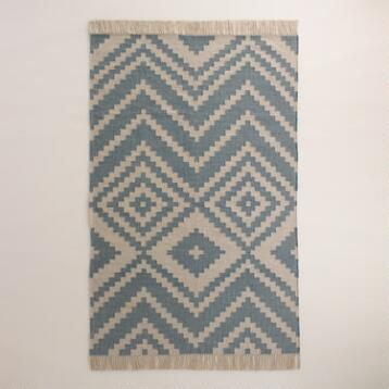 Oyster Gray and Blue Stone Kilim Desert Yuma Area Rug