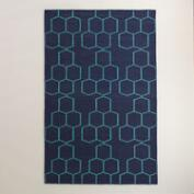 Estate Blue and Pool Blue Wool Maroc Abdel Area Rug