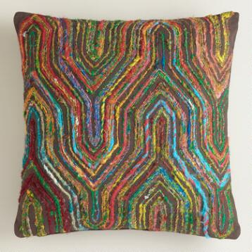 Boho Sari Herringbone Throw Pillow