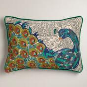 Peacock Blue Chambray Lumbar Pillow