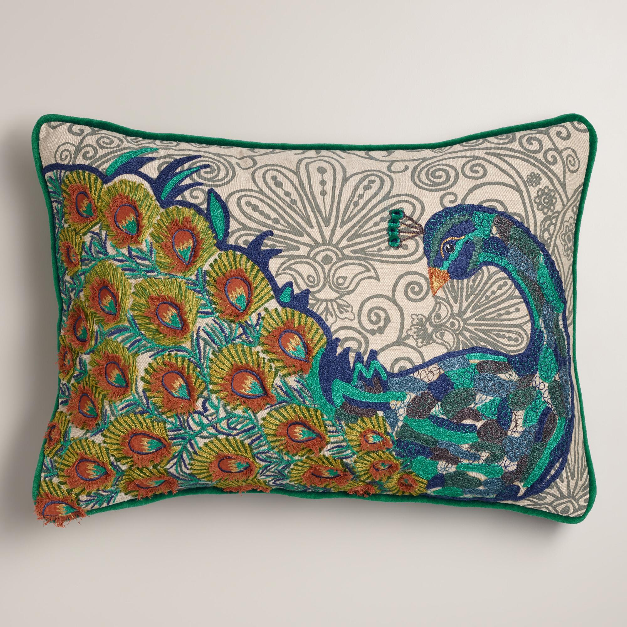 Peacock Blue Throw Pillow : Peacock Blue Chambray Lumbar Pillow World Market