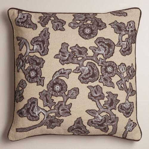 Twill Patchwork Floral Throw Pillow