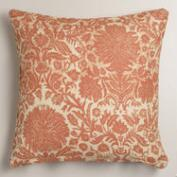 Orange Floral Jute Throw Pillow