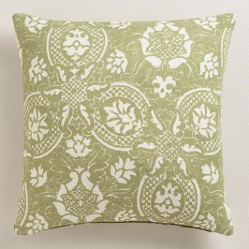 Green Floral Jute Throw Pillow