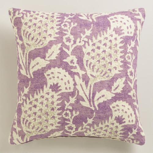 Purple Floral Jute Throw Pillow
