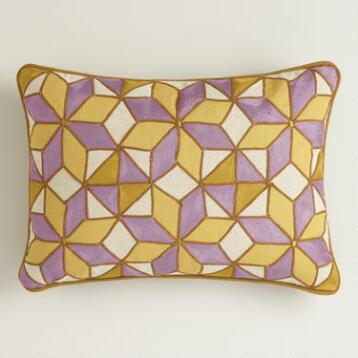 Purple and Green Embroidered Chambray Lumbar Pillow