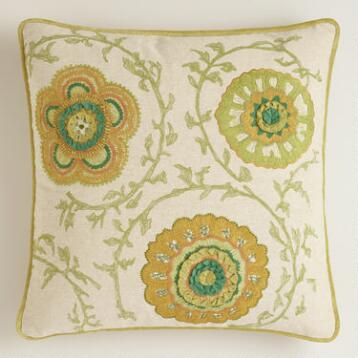 Green Floral Chambray Throw Pillow