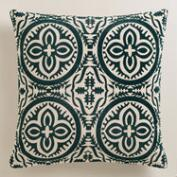 Dark Green Flocked Penelope Throw Pillow