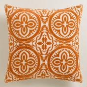 Orange Flocked Penelope Throw Pillow