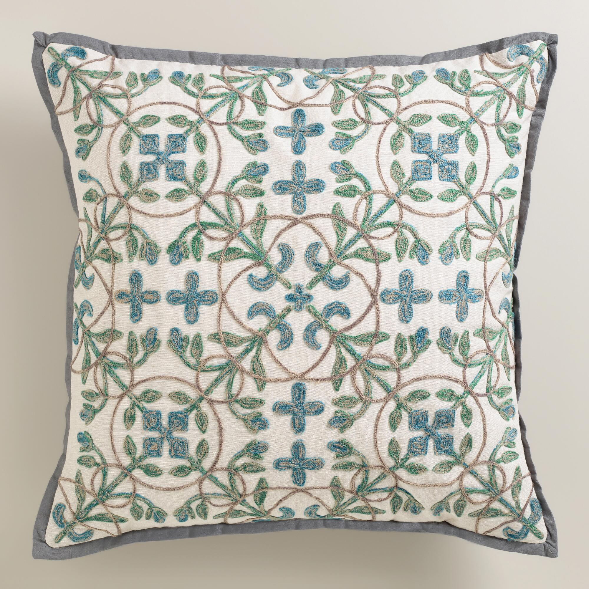 Throw Pillows Aqua Blue : Aqua Blue Tile Throw Pillow World Market