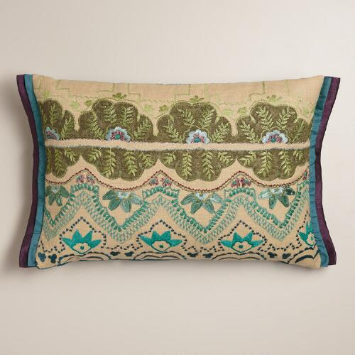 Blue and Green Embroidered Lumbar Pillow
