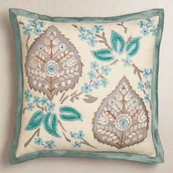 Blue and Gray Embroidered Leaf Throw Pillow