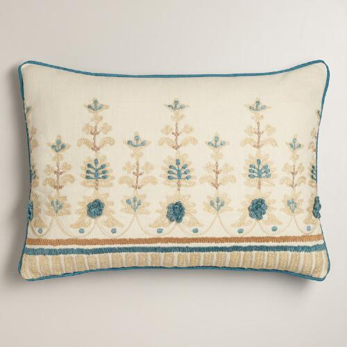Blue and Tan Embroidered Lumbar Pillow