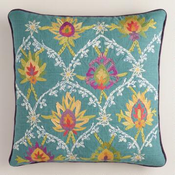 Blue Baroque Embroidered Throw Pillow
