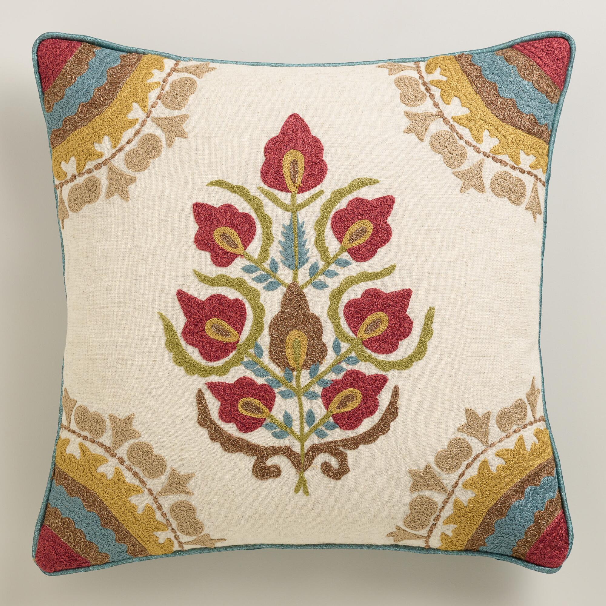 Throw Pillows For A Floral Couch : Red Floral Medallion Throw Pillow World Market