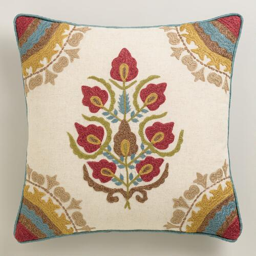 Red Floral Medallion Throw Pillow