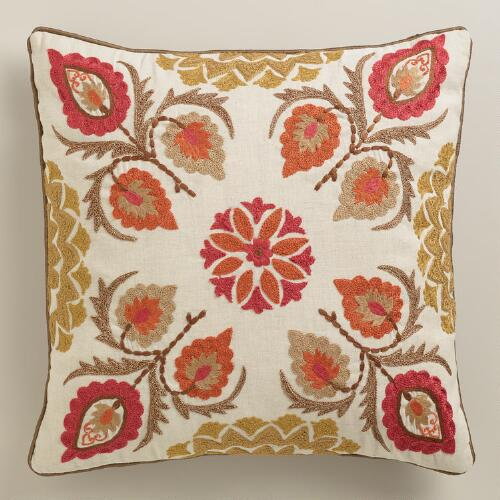 Red Leaf Embroidered Throw Pillow