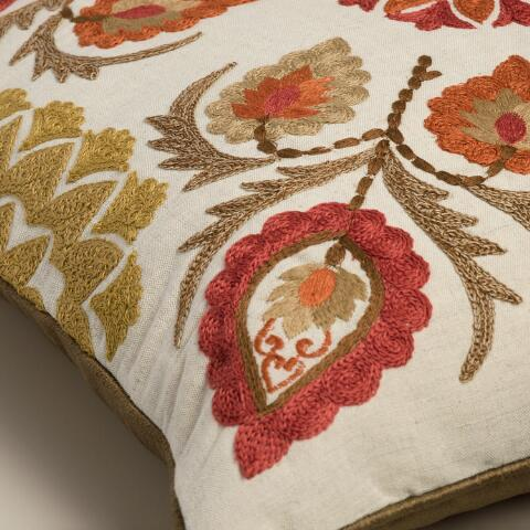 Red Leaf Embroidered Throw Pillow World Market