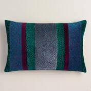 Blue Jewel-Tone Velvet Baroque Lumbar Pillow
