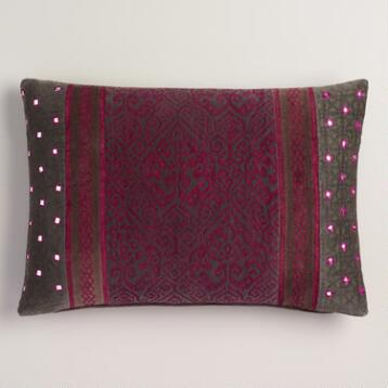 Purple Jewel-Tone Velvet Baroque Lumbar Pillow
