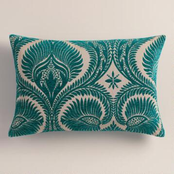 Everglade Green Nouveau Lumbar Pillow