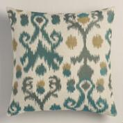 Blue Ikat Jacquard Throw Pillow