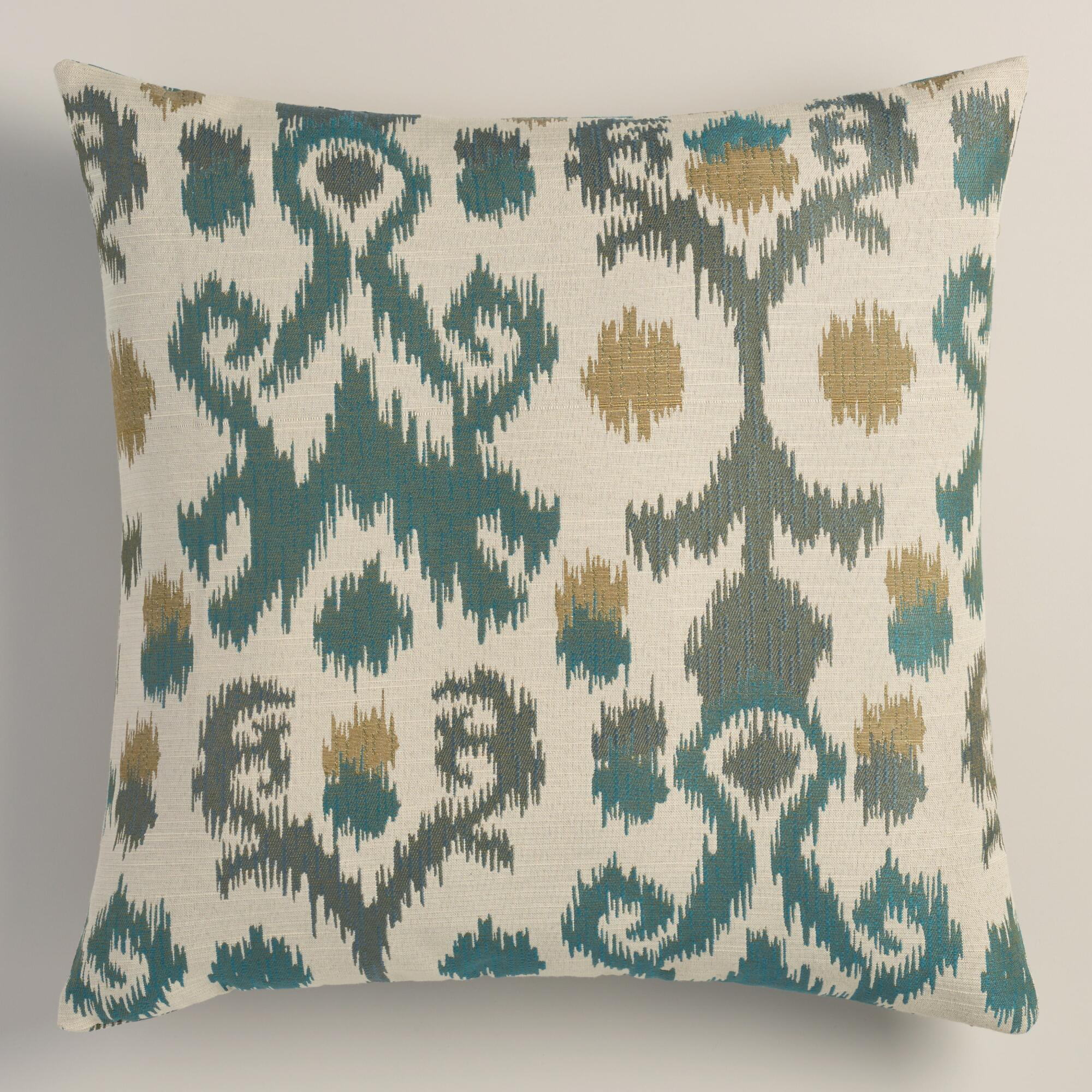 Jacquard Decorative Pillows : Blue Ikat Jacquard Throw Pillow World Market